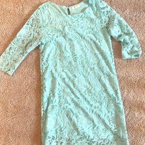 Soft blue lace overlay dress